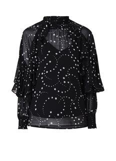 Letro semi-transparante blouse met sterrendessin en ruches