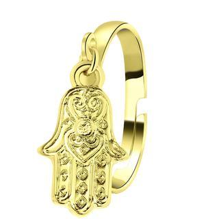 Goudkleurige byoux ring met Hamsa handje