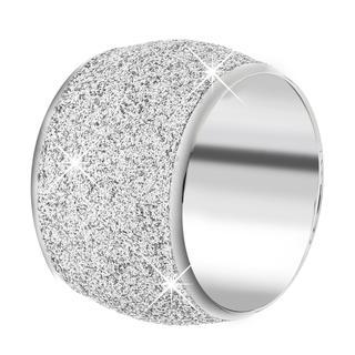 Stalen ring met silver mineral powder