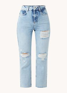 High waist straight fit cropped jeans met ripped details