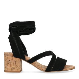Zwarte suède sandalen met hak