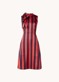 L-K-Bennett Tiggy midi jurk van satijn met streepprint en strikdetail