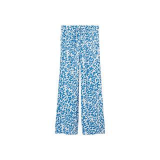 gebloemde high waist loose fit broek lichtblauw/wit