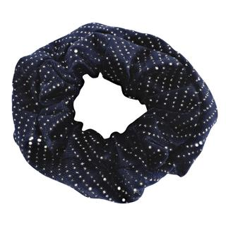 Velvet scrunchie blauw met glitter
