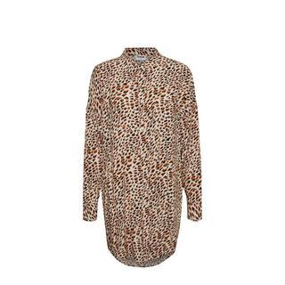 blouse met all over print beige/bordeaux