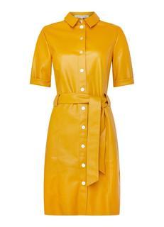 Maxim blouse jurk van imitatieleer met strikceintuur