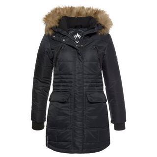 gewatteerde jas Sneeuw glans chic winterjack met staande ribkraag en afneembaar imitatiebont bij de capuchon