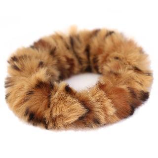 Faux fur scrunchie luipaard