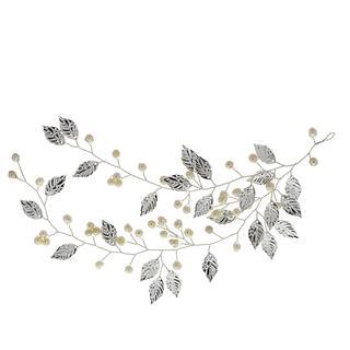 Haarsieraad met zoetwaterparels en bladeren