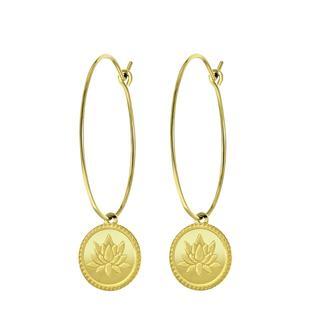 Stalen oorringen goldplated met hanger lotus