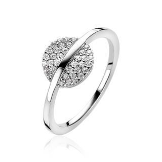 zilveren ring rond wit ZIR1444