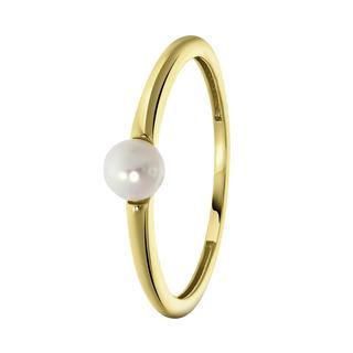 14K geelgouden ring met zoetwater parel 4mm