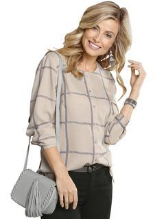 blouse met populair ruitmotief