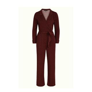 jumpsuit Doris Jumpsuit Earl Grey met grafische print roodbruin