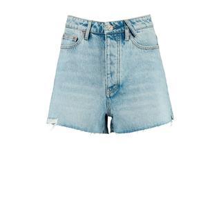 high waist jeans short blauw