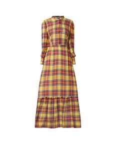 Maxi-jurk met ruitdessin en ruches
