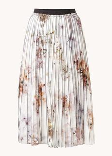 Flavvia midirok met plissé en bloemenprint