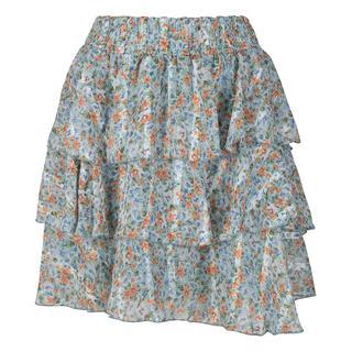 Bloemen rok met laagjes blauw
