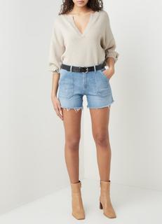 Selby high waist slim fit korte spijkerbroek met lichte wassing