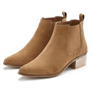 laarsjes van suèdeleer, chelsea-boots in modieuze cowboy-look