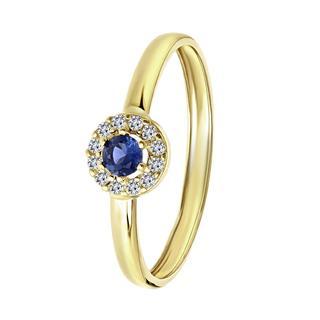 9 karaat damesring ring met wit&blauwe zirkonia