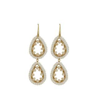 Double Drops Earrings - White Beige