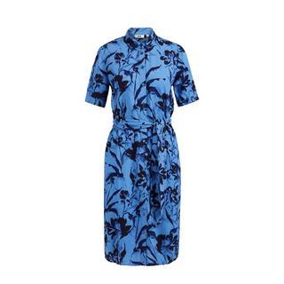 blousejurk met bladprint en ceintuur blauw/zwart