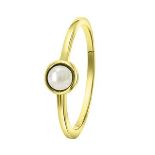 Zilveren goldplated ring Swarovski parel