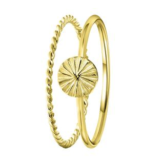 Zilveren ring goldplated 2delig disc/twist