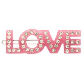 Haarclip love pink strass