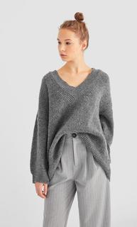 Oversized trui , Donkergrijs polyester,acryl,