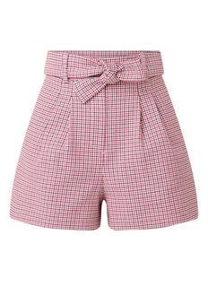 Ida high waist shorts met pied-de-poule patroon en strikceintuur