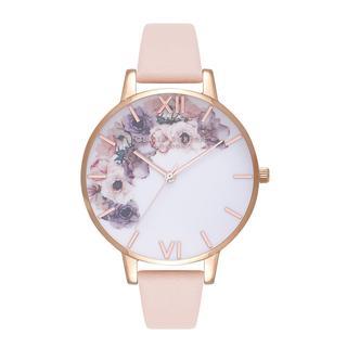 Horloge. Watercolour. Bloemen. Rose goud. Roze.