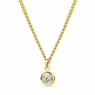 Kettingen - 9ct Cubic Zirconia Rubover Round Pendant on 45cm C in goud voor dames