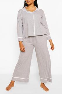 Plus Jersey Doorknooppyjama Met Lange Mouwen, Grijs