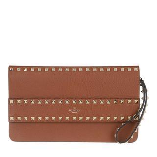 Clutch - Rockstud Clutch Leather Selleria in bruin voor dames