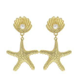 Goudkleurige byoux oorbellen zeester met parel