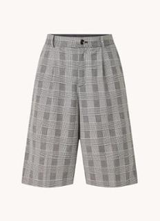 Kyrias high waist straight fit korte broek met pied-de-poule dessin