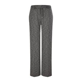 straight fit fijngebreide broek in visgraat zwart/ecru
