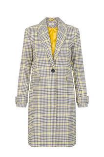 Dames Lange jas geruit geel