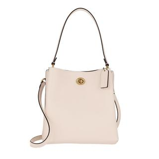 Cross Body Bags - Polished Pebble Leather Charlie Bucket Bag Chalk in wit voor dames