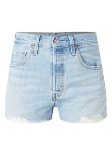 501 high waist straight fit korte broek van denim met gerafelde zoom