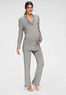 zwangerschapspyjama met knoopsluiting en plooi