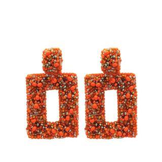 Statement Beads Earrings - Orange