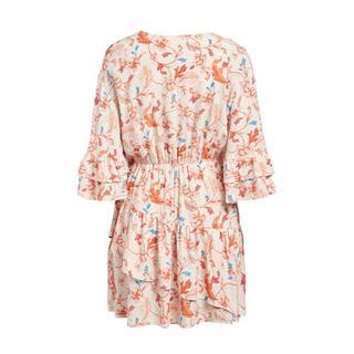 A-lijn jurk OBJOBDULIA met all over print en volant ecru/oranje