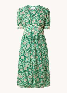 Plume midi jurk met V-hals en bloemenprint