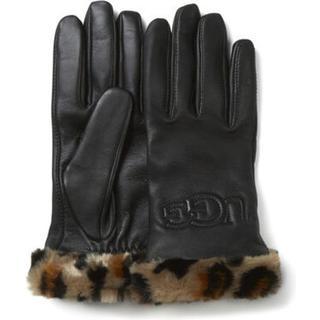 Faux Fur Cuff Leather Handschoenen voor Dames in Black