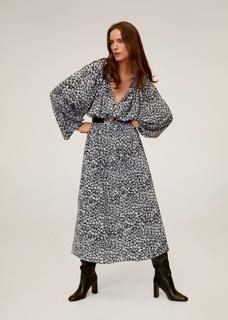 Maxi-jurk met bedrukte mouwen