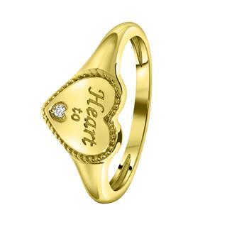 Zilveren zegelring gold hart met zirkonia