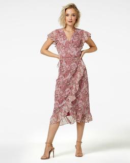 Flower-pes-01 midi dress short sleeve rosy midi burgundy